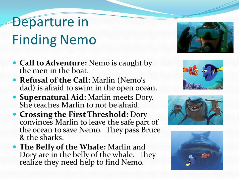 Departure in Finding Nemo Call to Adventure: Nemo is caught by the men in the boat. Refusal of the Call: Marlin (Nemo's dad) is afraid to swim in the