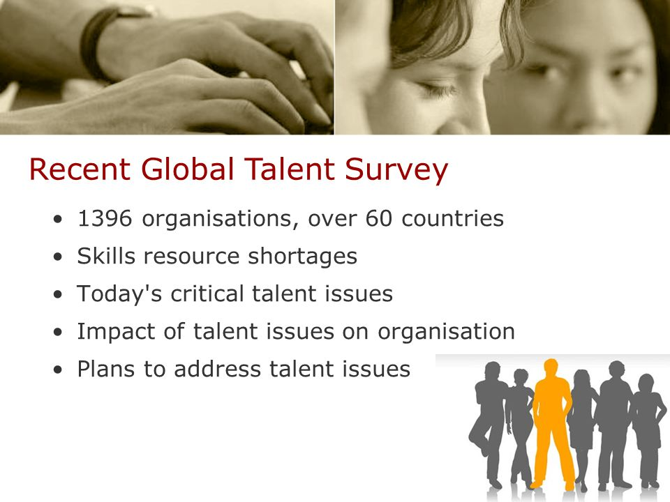 1396 organisations, over 60 countries Skills resource shortages Today s critical talent issues Impact of talent issues on organisation Plans to address talent issues Recent Global Talent Survey
