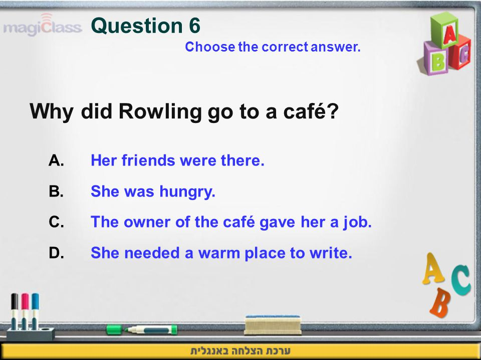 Why did Rowling go to a café. A.Her friends were there.