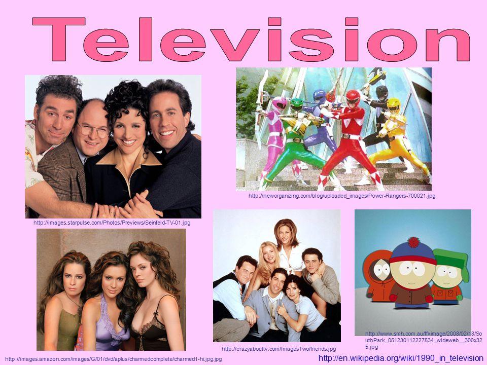 http://en.wikipedia.org/wiki/1990_in_television http://images.starpulse.com/Photos/Previews/Seinfeld-TV-01.jpg http://crazyabouttv.com/ImagesTwo/friends.jpg http://www.smh.com.au/ffximage/2008/02/18/So uthPark_051230112227534_wideweb__300x32 5.jpg http://neworganizing.com/blog/uploaded_images/Power-Rangers-700021.jpg http://images.amazon.com/images/G/01/dvd/aplus/charmedcomplete/charmed1-hi.jpg.jpg