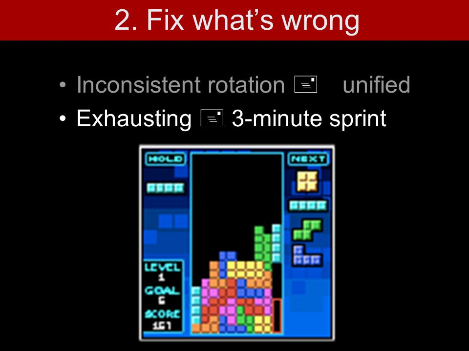 2. Fix what's wrong Inconsistent rotation + unified Exhausting + 3-minute sprint