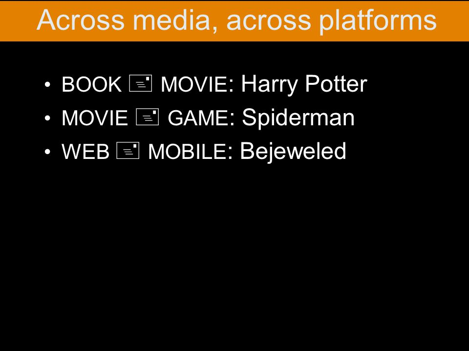 BOOK + MOVIE : Harry Potter MOVIE + GAME : Spiderman WEB + MOBILE : Bejeweled Across media, across platforms
