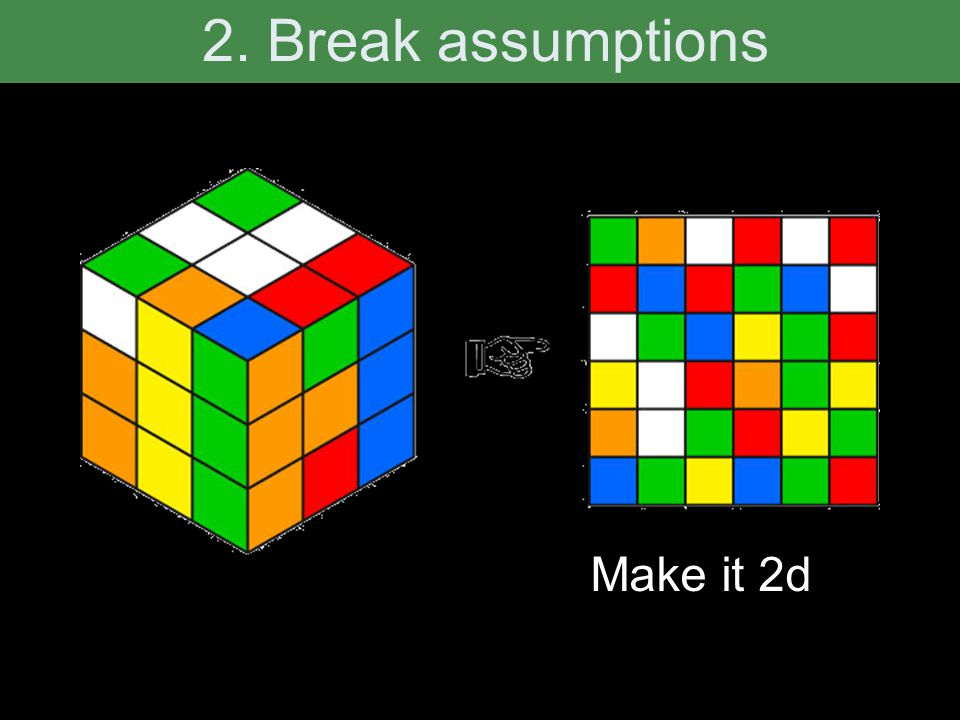 2. Break assumptions Make it 2d