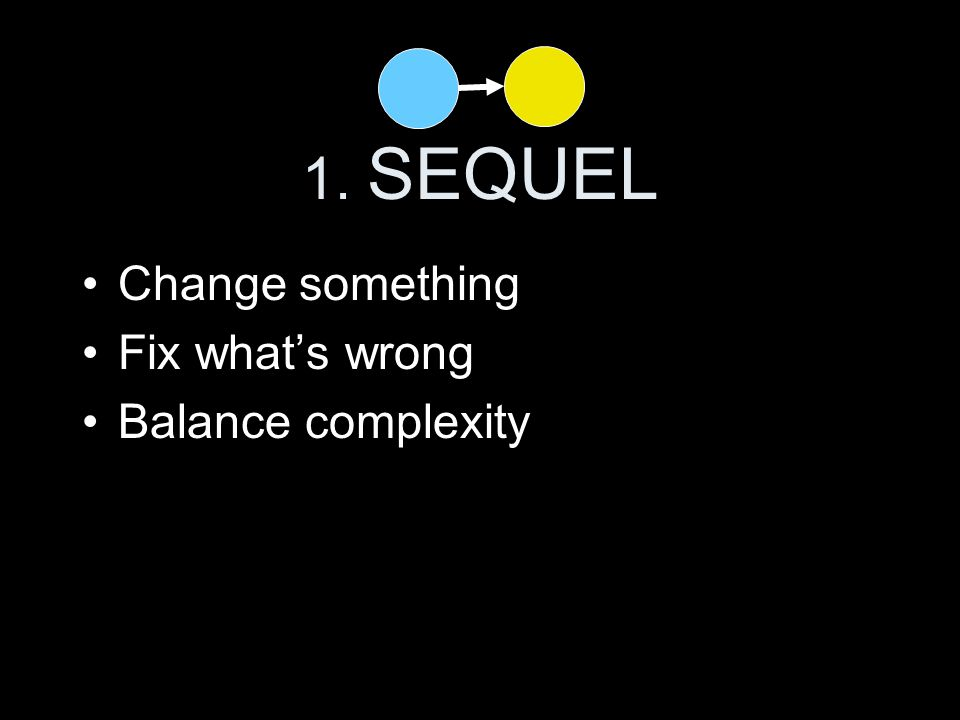1. SEQUEL Change something Fix what's wrong Balance complexity