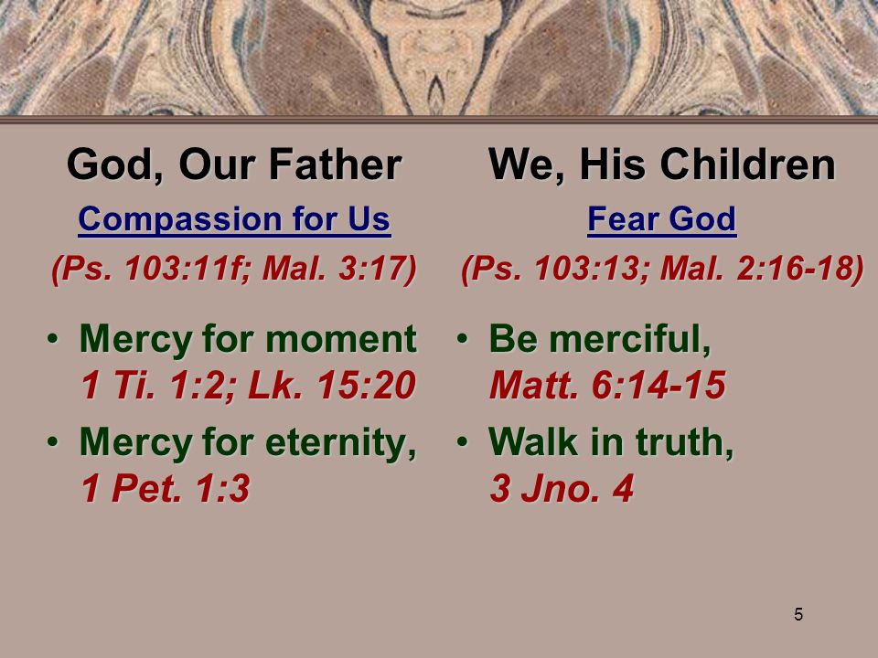 5 God, Our Father Compassion for Us (Ps. 103:11f; Mal.