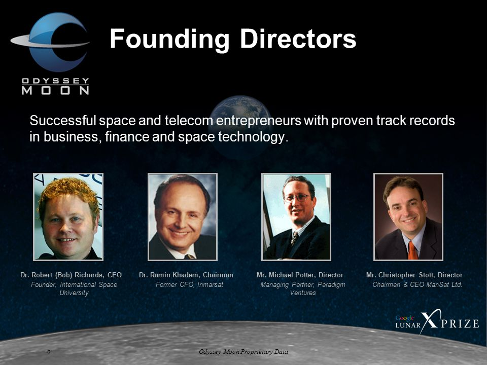 Odyssey Moon Proprietary Data 5 Founding Directors Successful space and telecom entrepreneurs with proven track records in business, finance and space technology.