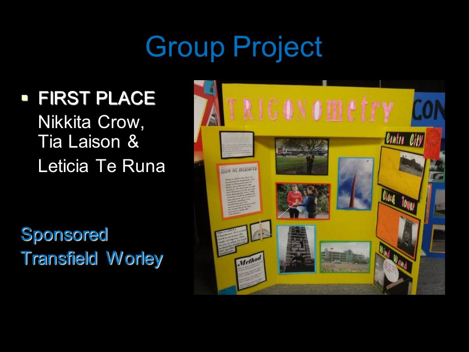 Group Project  FIRST PLACE Nikkita Crow, Tia Laison & Leticia Te RunaSponsored Transfield Worley