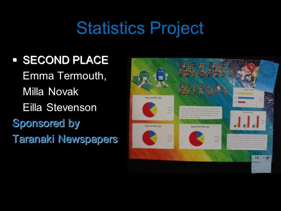 Statistics Project  SECOND PLACE Emma Termouth, Milla Novak Eilla Stevenson Sponsored by Taranaki Newspapers
