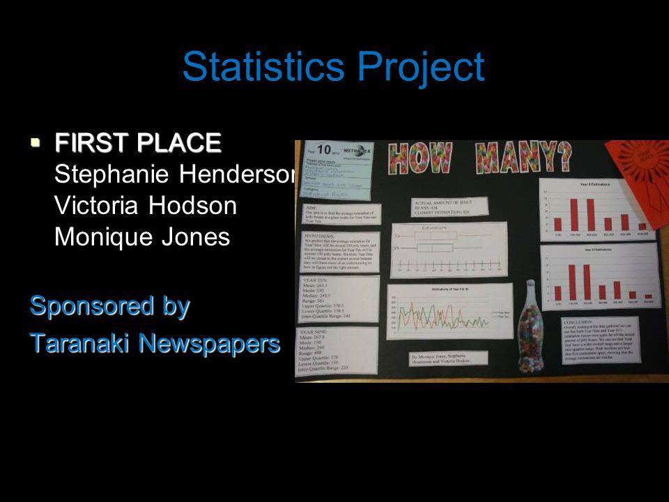 Statistics Project  FIRST PLACE Stephanie Henderson Victoria Hodson Monique Jones Sponsored by Taranaki Newspapers