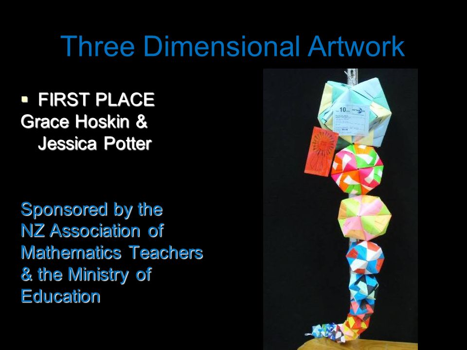 Three Dimensional Artwork  FIRST PLACE Grace Hoskin & Jessica Potter Sponsored by the NZ Association of Mathematics Teachers & the Ministry of Education