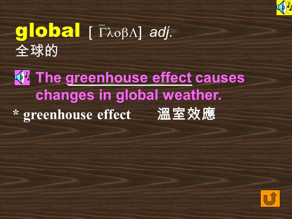 Words for Production 24. globalized [ `GlobL&aIzd ] adj.