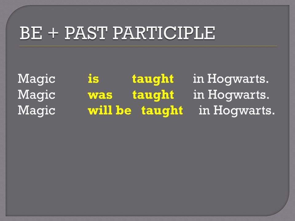 Magic is taught in Hogwarts. Magic was taught in Hogwarts. Magic will be taught in Hogwarts.