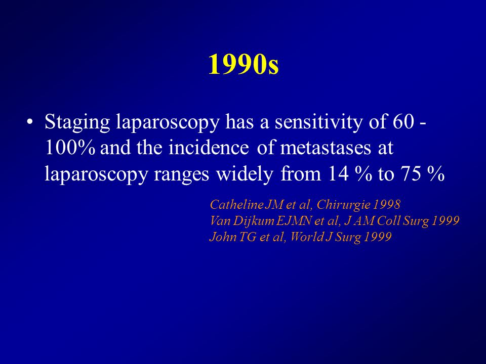 1990s Staging laparoscopy has a sensitivity of 60 - 100% and the incidence of metastases at laparoscopy ranges widely from 14 % to 75 % Catheline JM et al, Chirurgie 1998 Van Dijkum EJMN et al, J AM Coll Surg 1999 John TG et al, World J Surg 1999