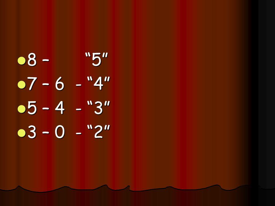 8 – 5 8 – 5 7 – 6 - 4 7 – 6 - 4 5 – 4 - 3 5 – 4 - 3 3 – 0 - 2 3 – 0 - 2