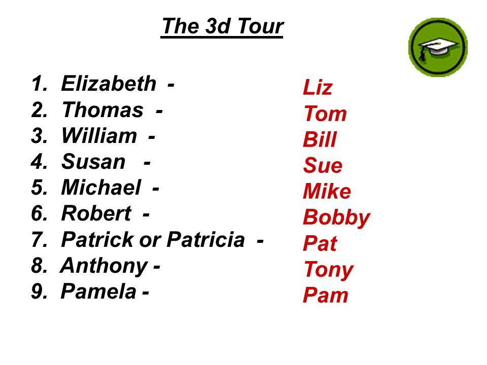 The 3d Tour 1. Elizabeth - 2. Thomas - 3. William - 4.