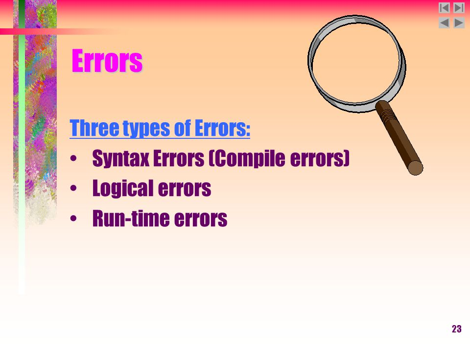 23 Three types of Errors: Syntax Errors (Compile errors) Logical errors Run-time errors Errors