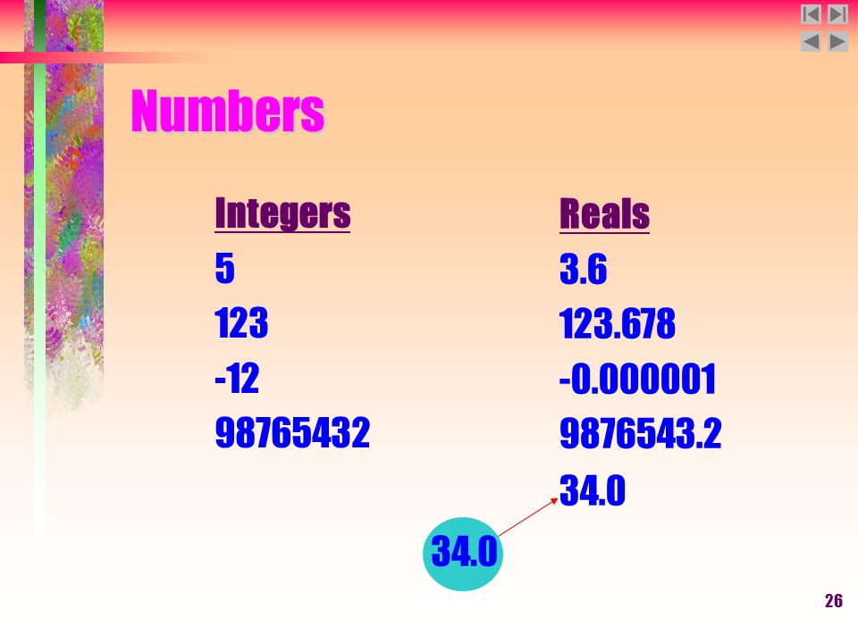 26 Numbers Integers 5 123 -12 98765432 Reals 3.6 123.678 -0.000001 9876543.2 34.0