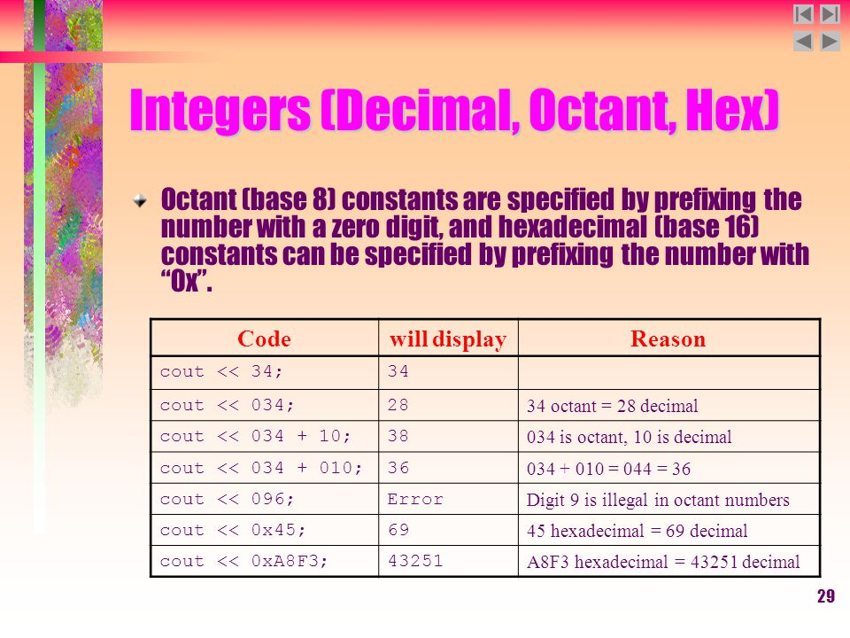 29 Integers (Decimal, Octant, Hex) Octant (base 8) constants are specified by prefixing the number with a zero digit, and hexadecimal (base 16) consta