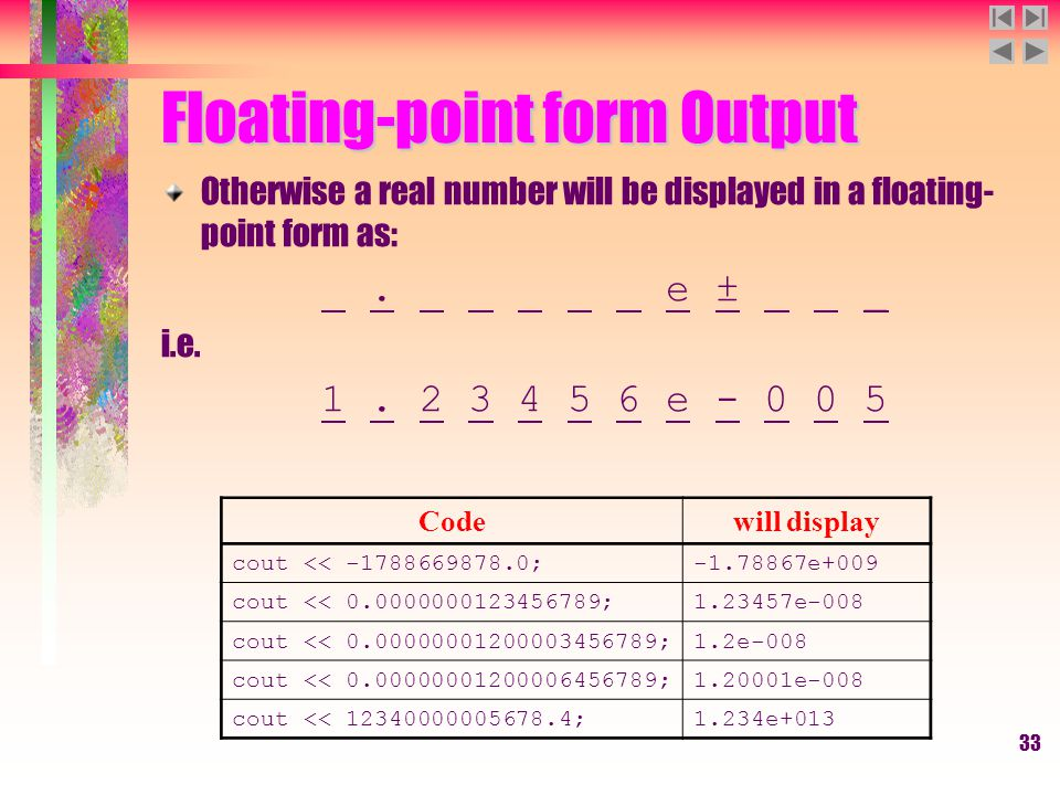 33 Floating-point form Output Otherwise a real number will be displayed in a floating- point form as:. e ± _ i.e. 1. 2 3 4 5 6 e - 0 0 5 Codewill disp
