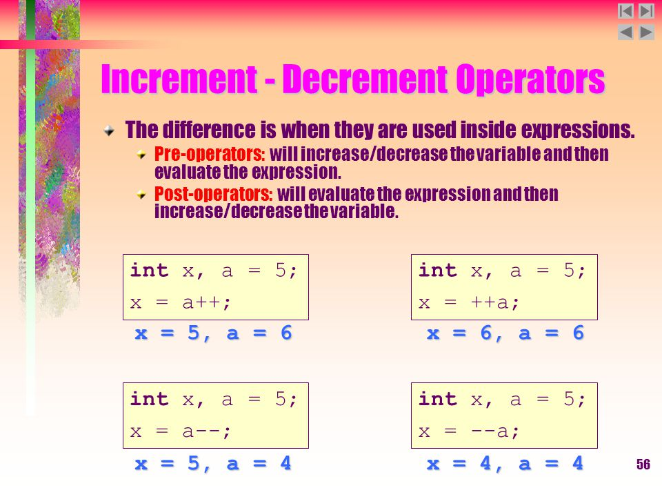 56 Increment - Decrement Operators The difference is when they are used inside expressions. Pre-operators: will increase/decrease the variable and the