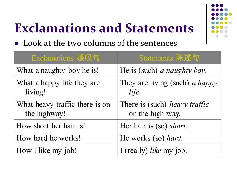Exclamations and Statements Look at the two columns of the sentences.