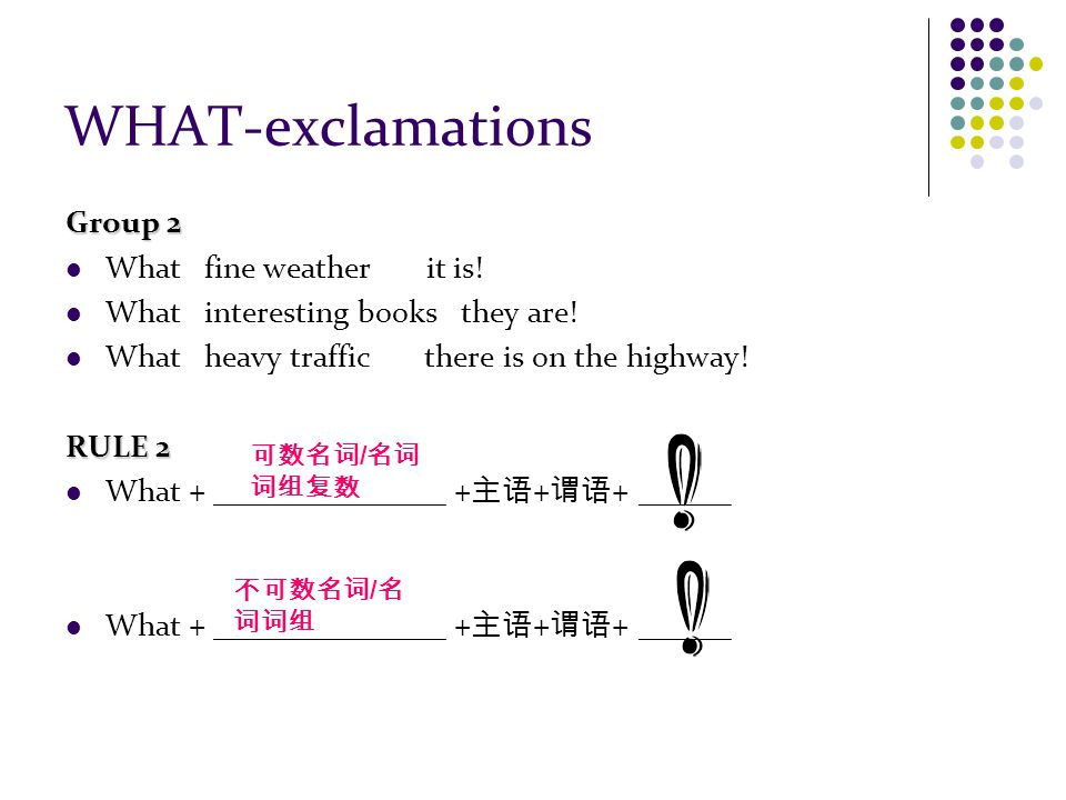 WHAT-exclamations Group 2 What fine weather it is.