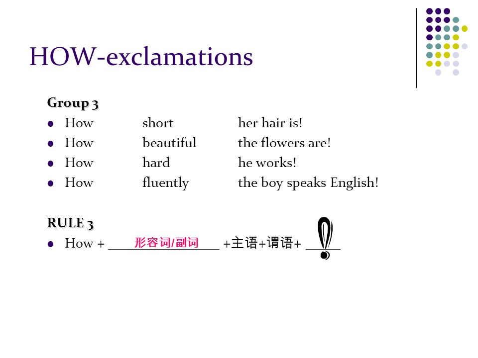 HOW-exclamations Group 3 How short her hair is. How beautiful the flowers are.