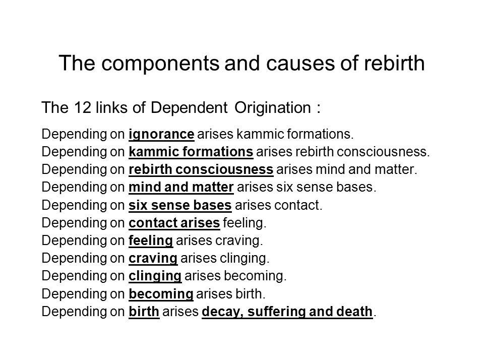 The components and causes of rebirth The 12 links of Dependent Origination : Depending on ignorance arises kammic formations.
