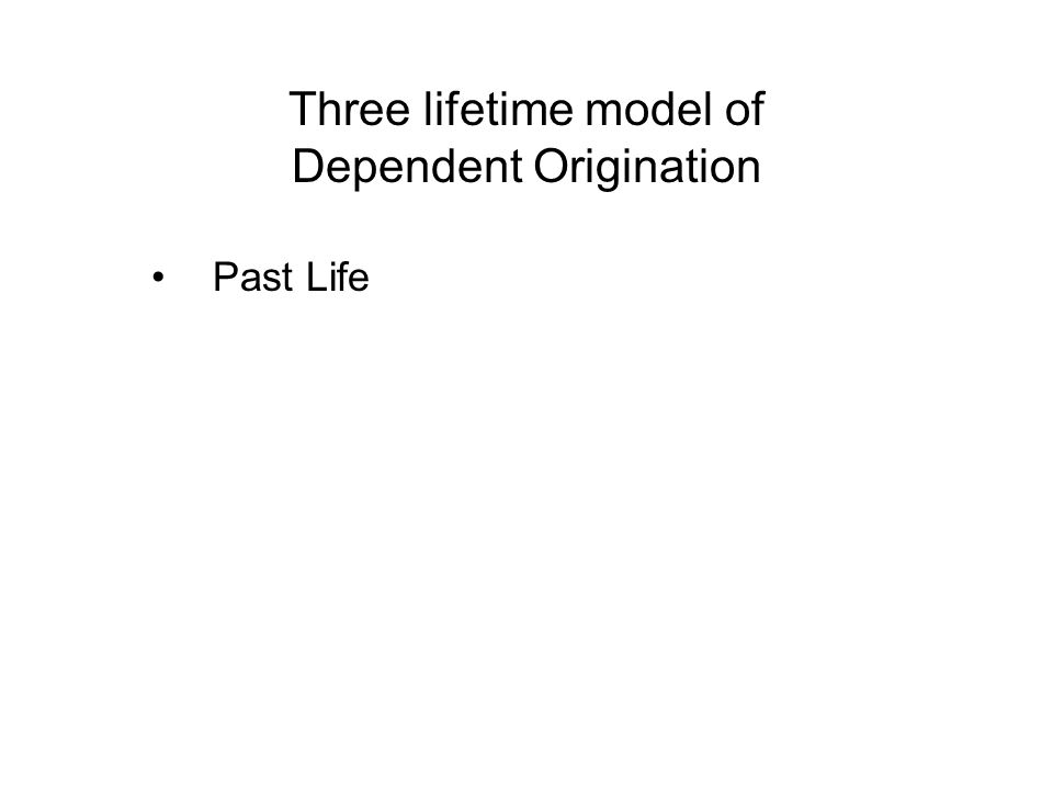 Three lifetime model of Dependent Origination Past Life - Actions (Kamma) of the Past Life Present Life - Resultants on the Present Life - Actions (Kamma) of the Present Life Future Life - Resultants on the Future Life
