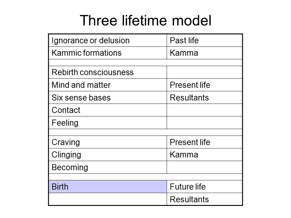 Three lifetime model Ignorance or delusionPast life Kammic formationsKamma Rebirth consciousness Mind and matterPresent life Six sense basesResultants Contact Feeling CravingPresent life ClingingKamma Becoming BirthFuture life Decay, suffering and deathResultants