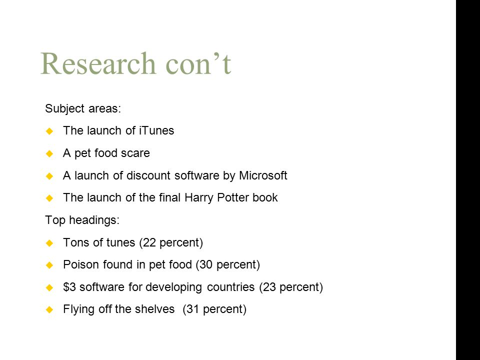 Research con't Subject areas:  The launch of iTunes  A pet food scare  A launch of discount software by Microsoft  The launch of the final Harry Potter book Top headings:  Tons of tunes (22 percent)  Poison found in pet food (30 percent)  $3 software for developing countries (23 percent)  Flying off the shelves (31 percent)