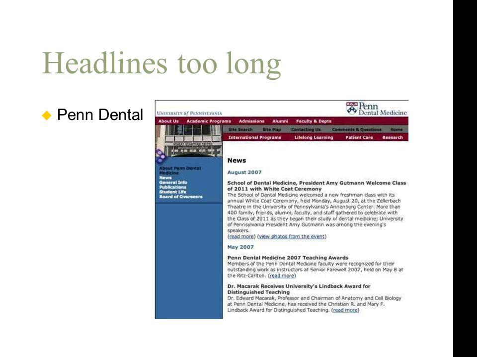 Headlines too long  Penn Dental