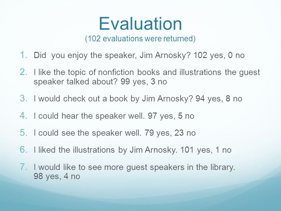 Evaluation (102 evaluations were returned) 1. Did you enjoy the speaker, Jim Arnosky.
