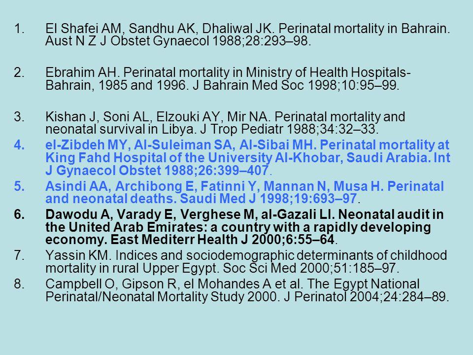 1.El Shafei AM, Sandhu AK, Dhaliwal JK. Perinatal mortality in Bahrain. Aust N Z J Obstet Gynaecol 1988;28:293–98. 2.Ebrahim AH. Perinatal mortality i