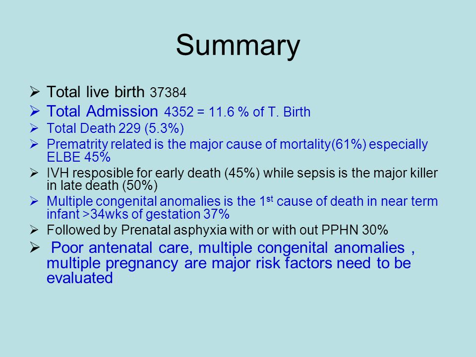 Summary  Total live birth 37384  Total Admission 4352 = 11.6 % of T.