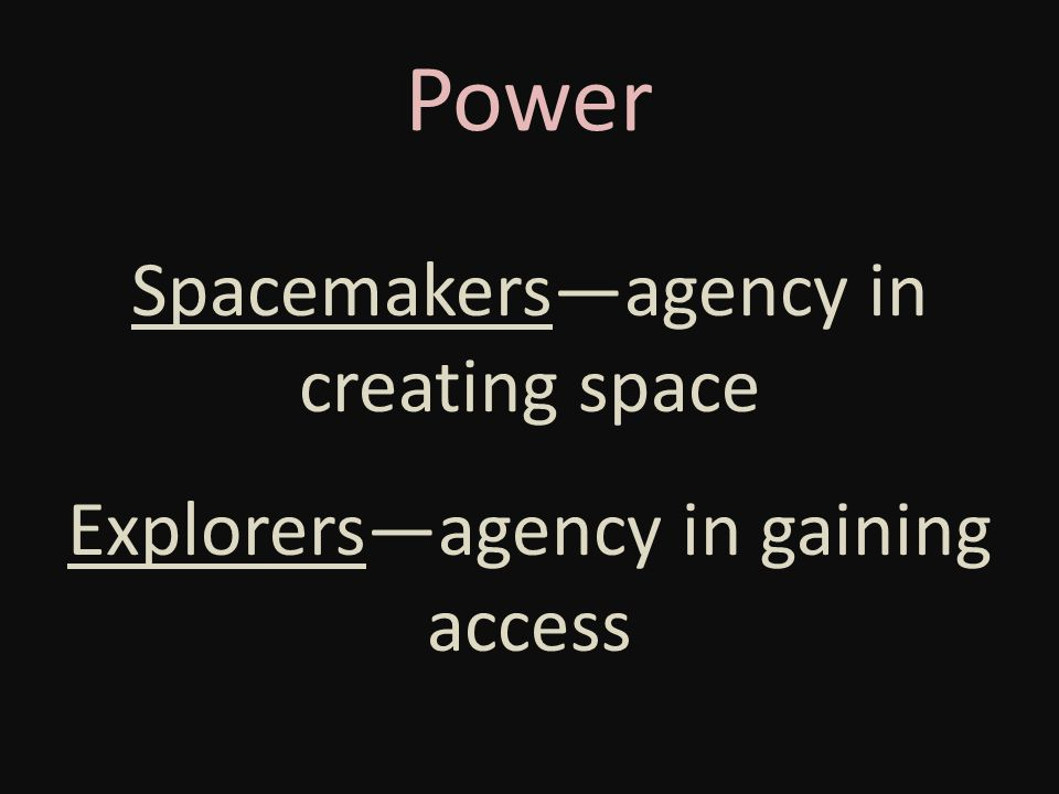Power Spacemakers—agency in creating space Explorers—agency in gaining access