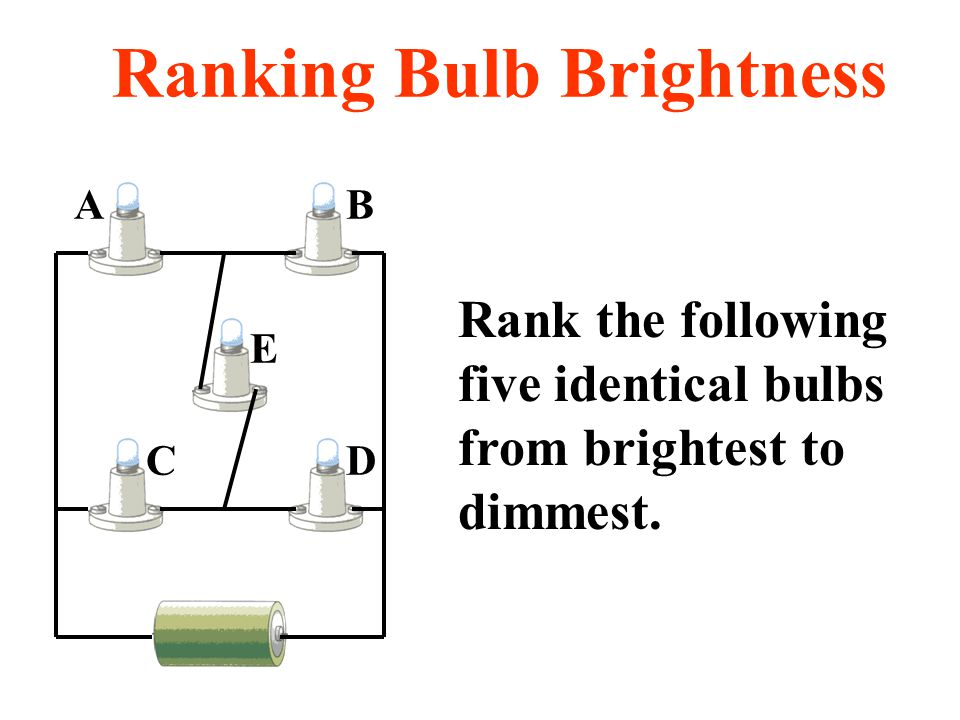 DC E AB Rank the following five identical bulbs from brightest to dimmest. Ranking Bulb Brightness