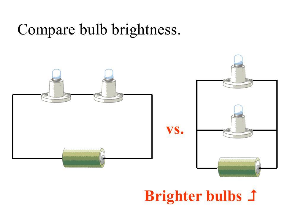 Compare bulb brightness. vs. Brighter bulbs 