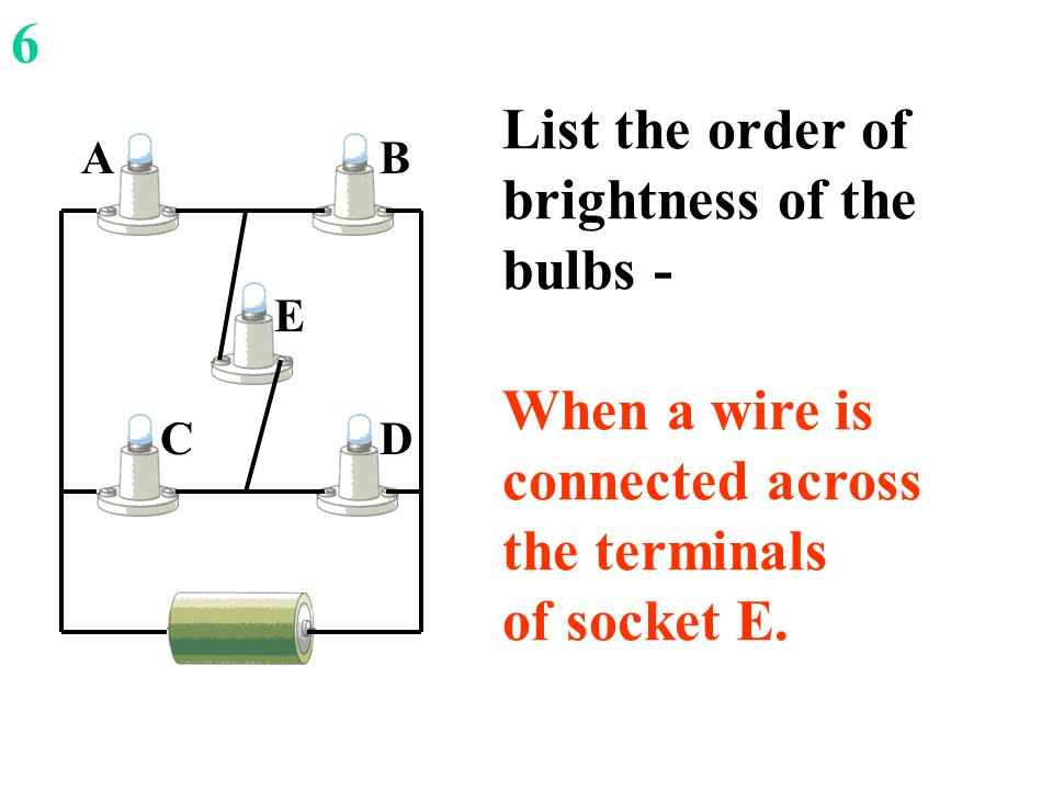 DC E AB List the order of brightness of the bulbs - When a wire is connected across the terminals of socket E.