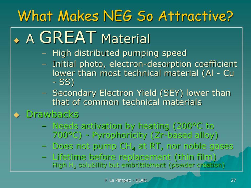 F. Le Pimpec - SLAC 27 What Makes NEG So Attractive.
