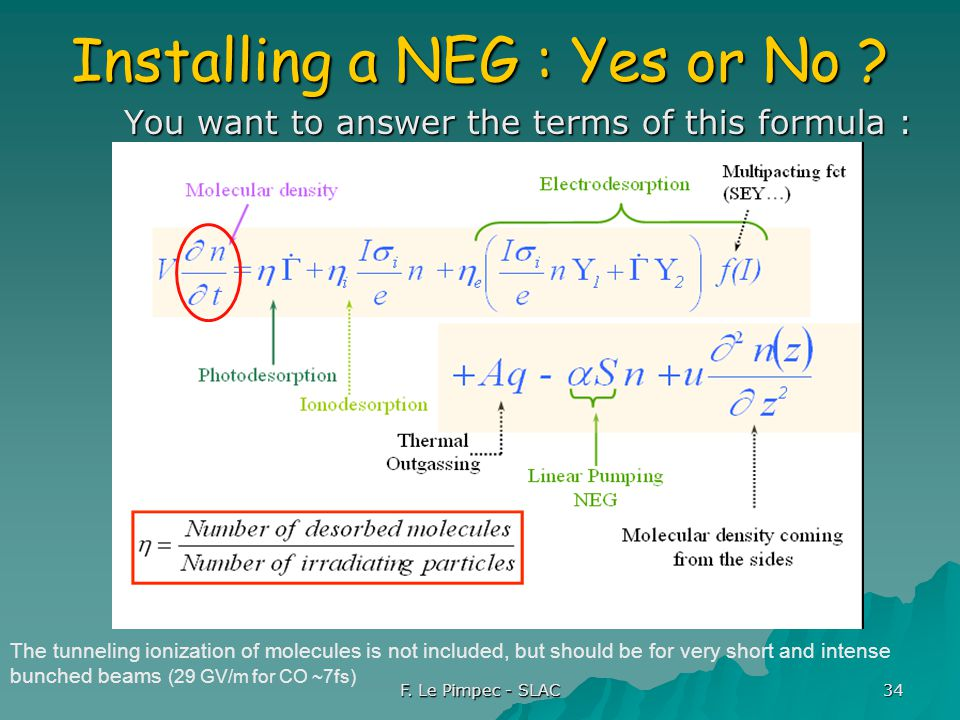 F. Le Pimpec - SLAC 34 Installing a NEG : Yes or No ? You want to answer the terms of this formula : The tunneling ionization of molecules is not incl