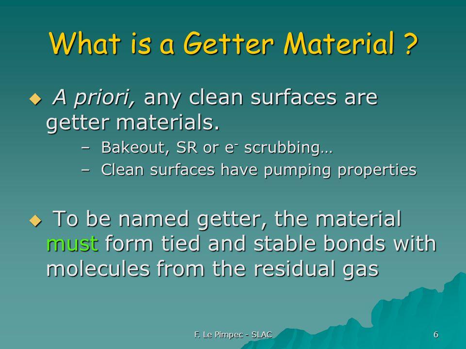 F. Le Pimpec - SLAC 6 What is a Getter Material .