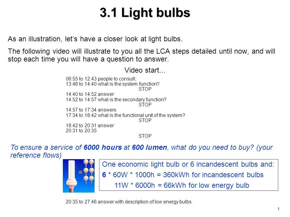2 3.2 Light bulbs environmental key parameters –the number of lumen per watt (performance of the bulb), –the life time.
