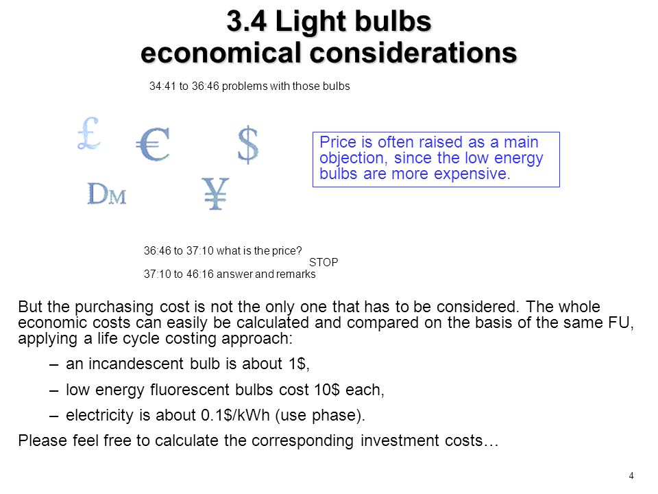 4 3.4 Light bulbs economical considerations But the purchasing cost is not the only one that has to be considered.