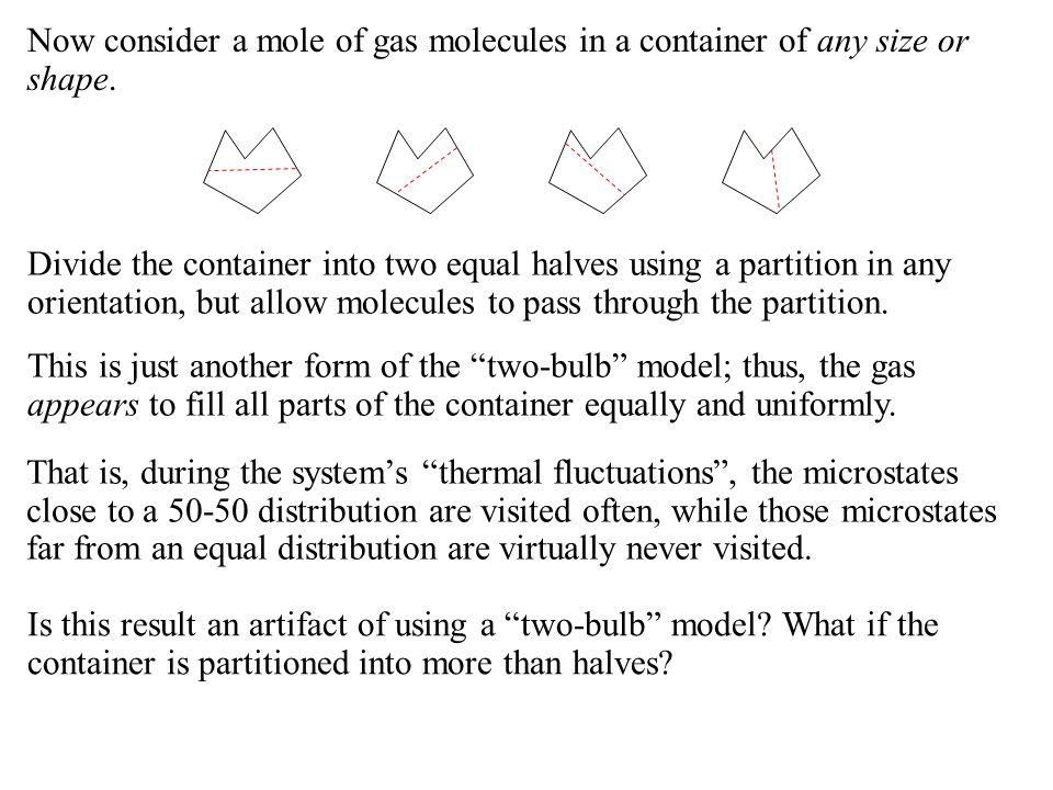 Now consider a mole of gas molecules in a container of any size or shape.