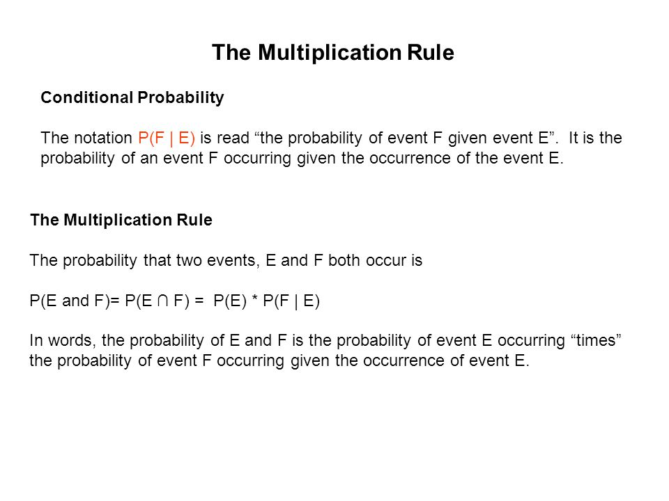 """The Multiplication Rule Conditional Probability The notation P(F 