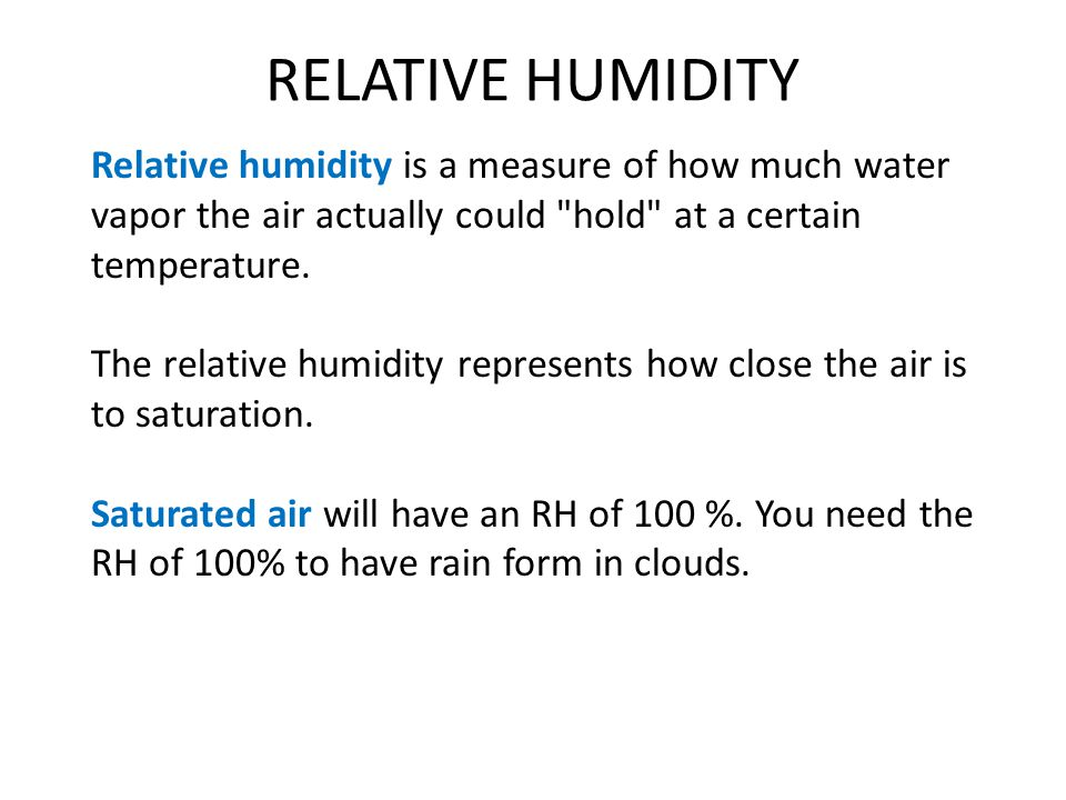 To measure relative humidity use a sling psychrometer (hygrometer)
