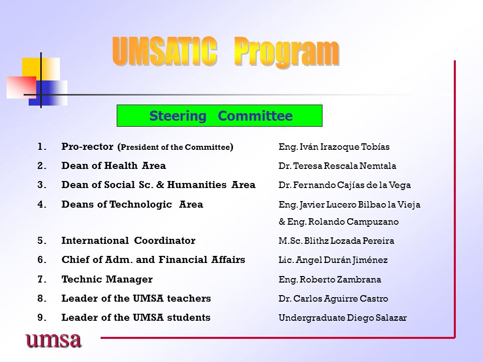 umsa Steering Committee 1.Pro-rector ( President of the Committee ) Eng.