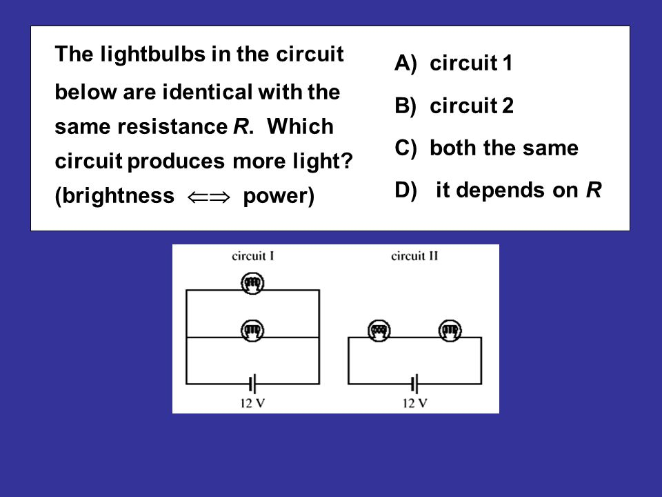 circuit 1 A) circuit 1 circuit 2 B) circuit 2 both the same C) both the same it depends on R D) it depends on R The lightbulbs in the circuit below ar