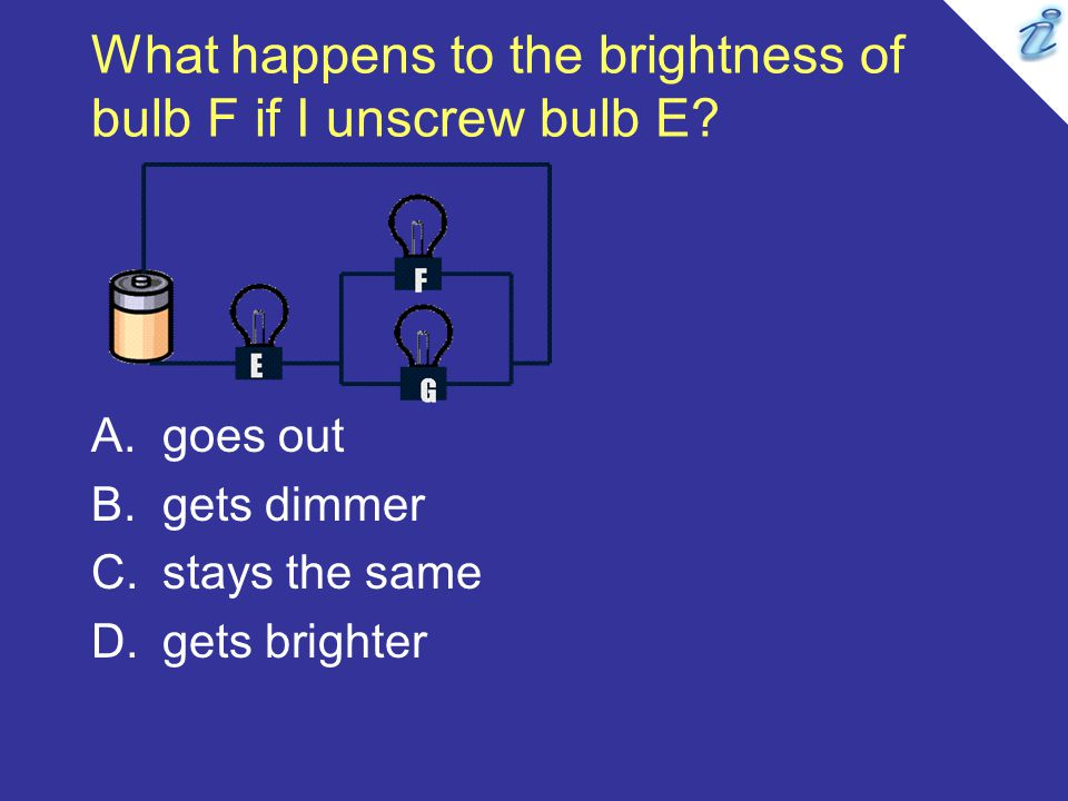 What happens to the brightness of bulb F if I unscrew bulb E.